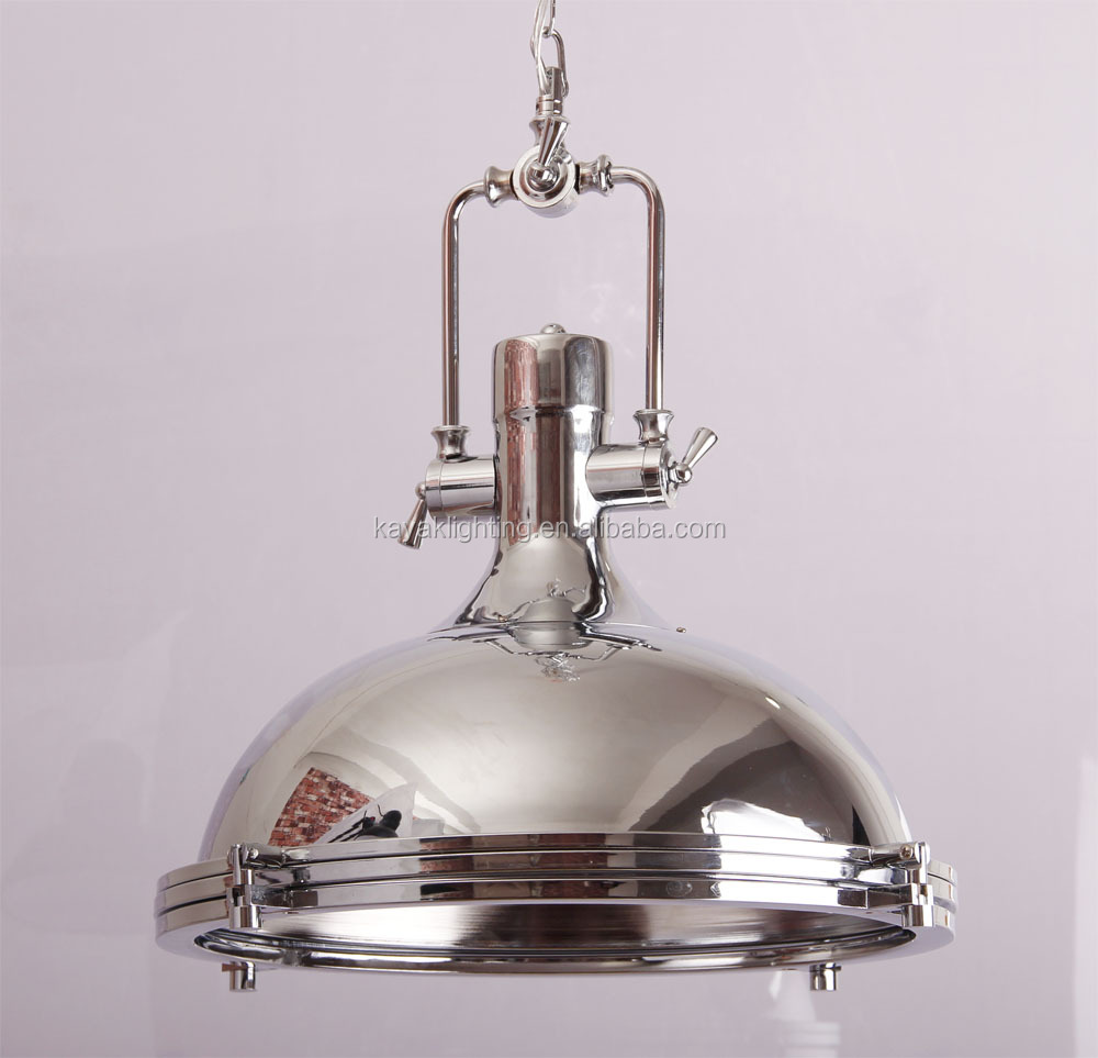 Vintage Industrial Bell Shade Pendant Hanging Light Kitchen Art Deco silver large pendant Lamp