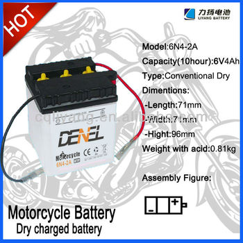 6N4-2A, 6V 4Ah Batteries for Motorcycle, Dry charged Battery, Motorccycle parts, Motor parts