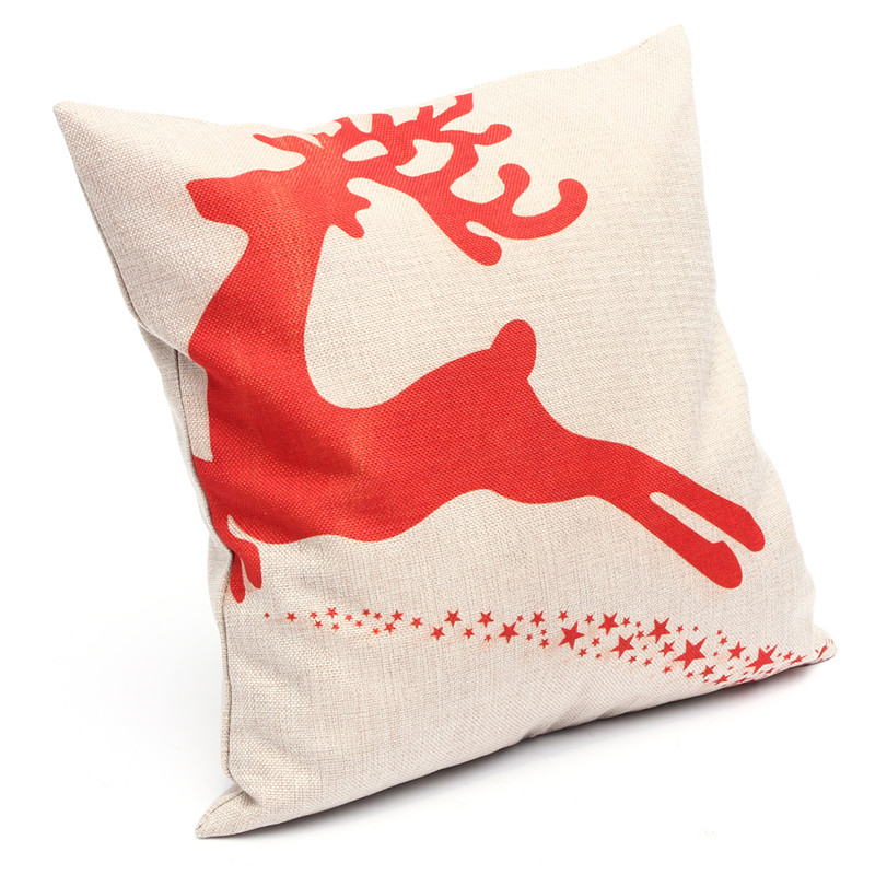 "Top Selling Cushion Covers Pillow Shells Christmas Reindeer Linen Cotton Cover Pillow Case Christmas Decoration 17"" 17"""