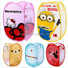 Wholesale Cartoon Nylon Steel Wire laundry Basket/Hot Sale Sundries Organizer