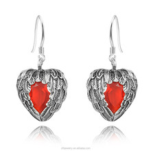 Women Fashion Red velvet ruby Crystal 925 Sterling Silver Dangle Drop pendant Earrings