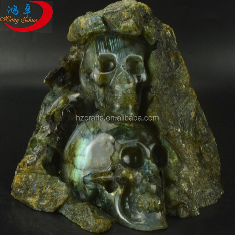 Wholesale Natural Life Size Crystal Skull Head Carved For Sale Labradorite Quartz Crystal Skull