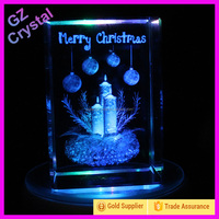Christmas Custom 3D Laser Engraving Crystal Cube Gift Items