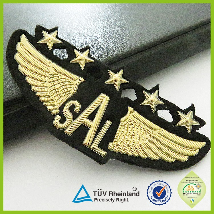 Embroidered or pvc metal wholesale custom army uniform shoulder rank military badge
