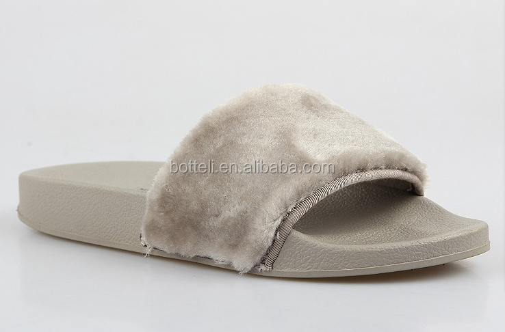 New Mold colorful ladies comfy faux fur injection EVA slide slipper