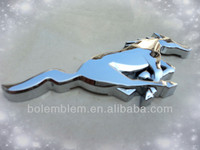 Chrome Ford Mustang running horse car badges