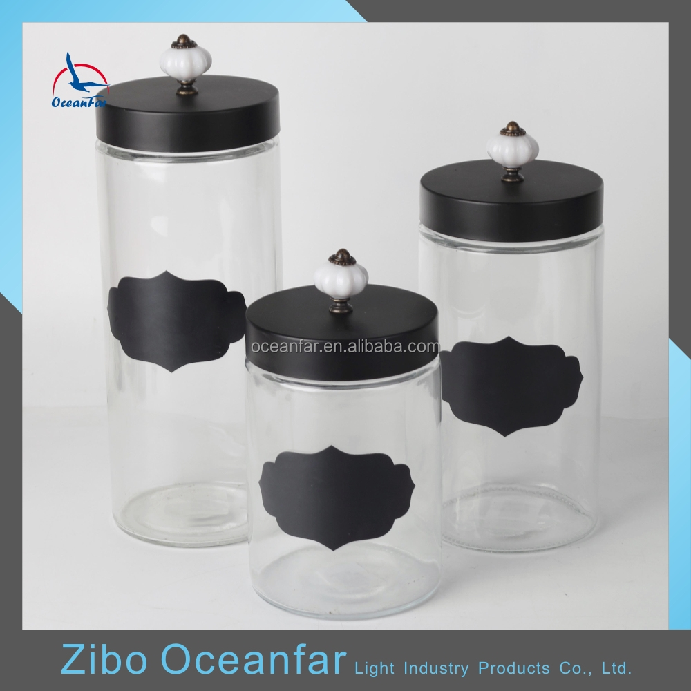 Hot Sale Decorative Glass Candy Jars Cheap Cutom Glass Jar With Black Lid