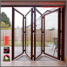 Wooden Folding Doors Patio Accordion AS2047 Themal Exterior Double Glass Design Vertical Bifold Garage Doors Bifold Doors