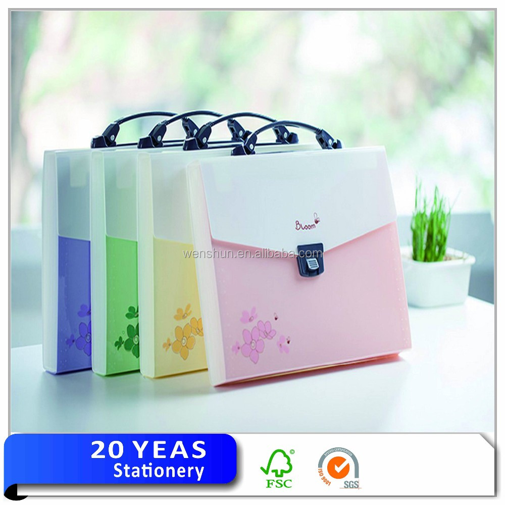 Wholesale cheap plastic pp expanding file folder with handle