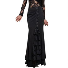 Woman Maxi Long Lace Up maxi skirt Pencil Skirt in Black