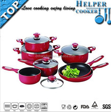 12 pcs New kitchen non stick cookware with different size pot, fry pan and sauce pan