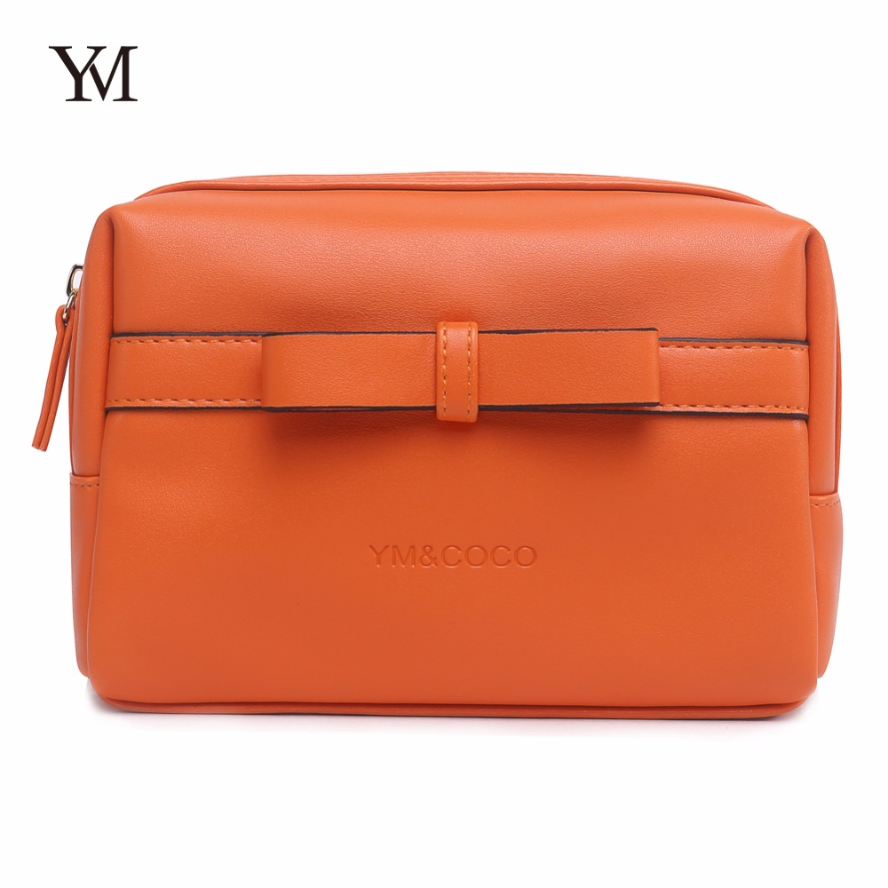 Wholesale YM&COCO cosmetic pouch , <strong>orange</strong> pu leather cosmetic makeup Clutch Bag