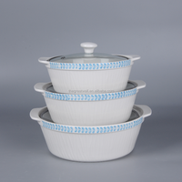 Ceramic casserole with glass lid, cheap stoneware casserole set