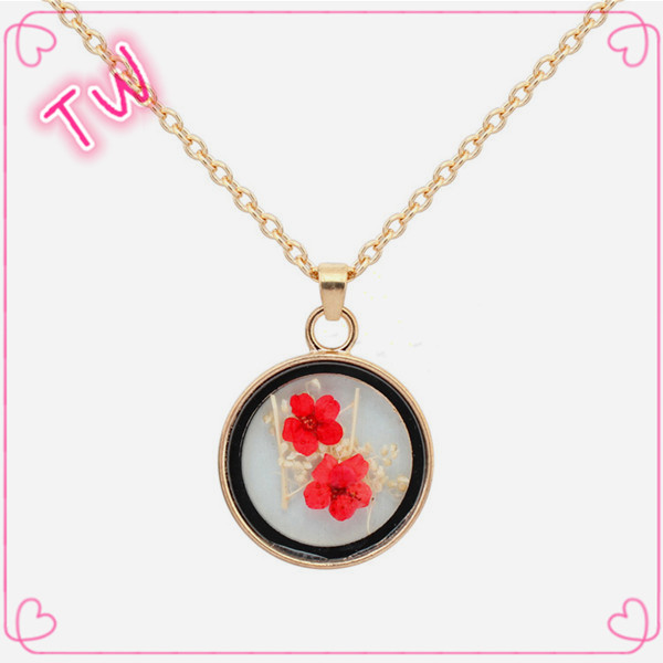 High quality womens mens fashion newest dry flower design <strong>14</strong> <strong>k</strong> gold chain necklace jewelry online shopping