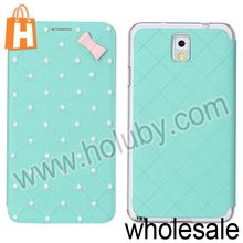 Pretty Shining Pearl Design Grid Texture Folder Leather Case for Samsung Galaxy Note 3 N9000 N9002 N9005