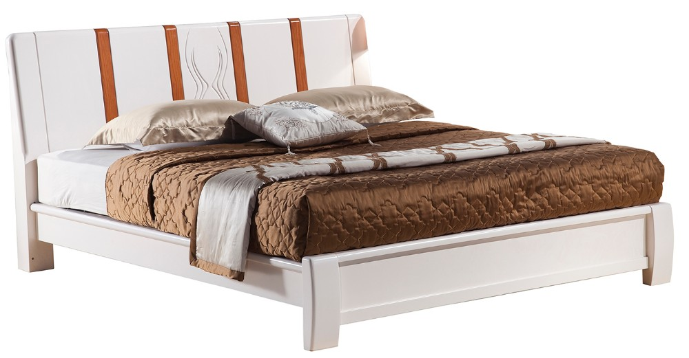 Simple solid wood bedroom furniture white double bed designs 3106