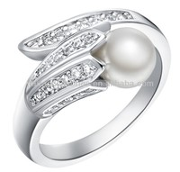 Micro pave 925 sterling silver pearl rings