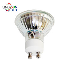 Super bright high energy saving 100lm/w smd 3528 dc 12v non dimmable warm white glass cup 3w gu10 led spotlight