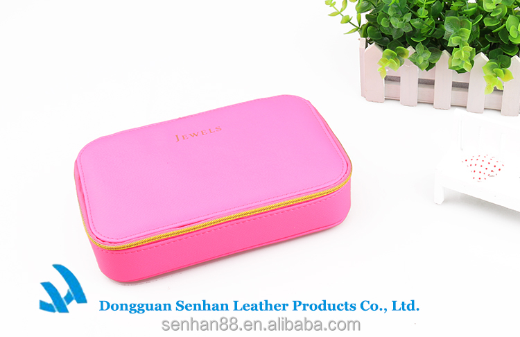 Promotional pink PU toiletry bag make-up bag for mirror
