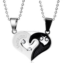 Mens Stainless Steel Chain Black Heart Love <strong>Necklaces</strong> for Couples Korean Ladies Fashion Trendy Paired Suspension Pendants Model