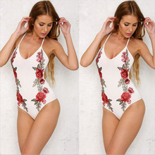 Suspender Embroidered Printing Silk Milk One Piece Sexy Lady Bathing Suit Swimwear
