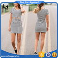 ladies young fashion clothing short sleeve striped cut out front twist waist bodycon dress
