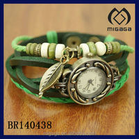 fashion indian folk leather strap watch beaded leather watch bracelet