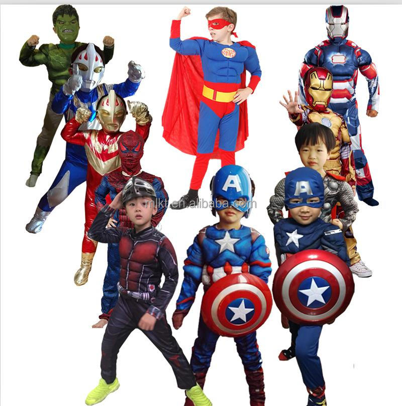 2016 new coming muscle kids superhero costume for halloween