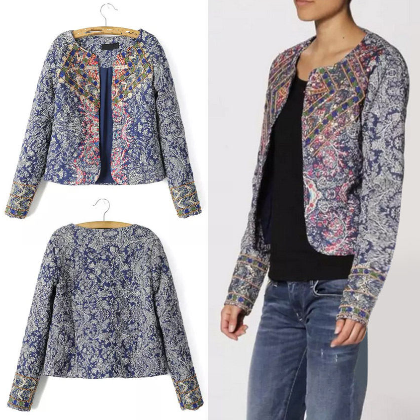 Women Padded Jacket Thin Ethnic Floral Jacket