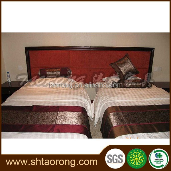 China supplier luxury modern wood twin bed for hotel