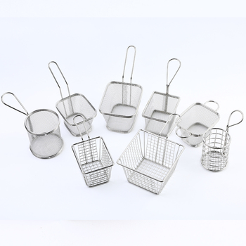 stainless steel french fries holder pp rattan mini frying basket chef basket