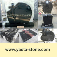 Chinese Black Granite Stone Modern Headstone