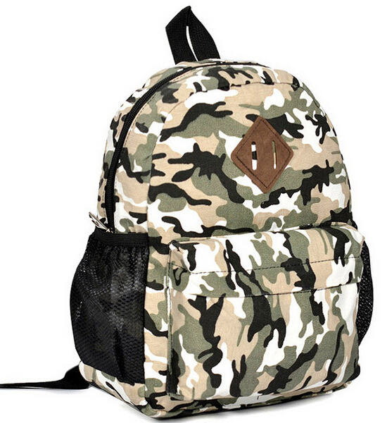 2015 New Children Baby Schoolbag Children Shoulders Camouflage Canvas Backpack