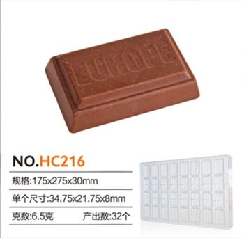 Plastic candy mould of chocolate