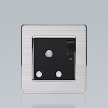 Black color 15 Amp 3 pin socket with neon round outlet
