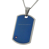 Blue plated with steel CNC white rhinestone pendant men's jewellery