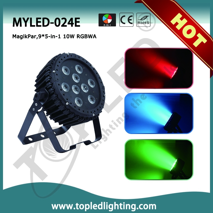 TOPLED Good Price 9x10W RGBWA 5in1 Stage LED Par Light