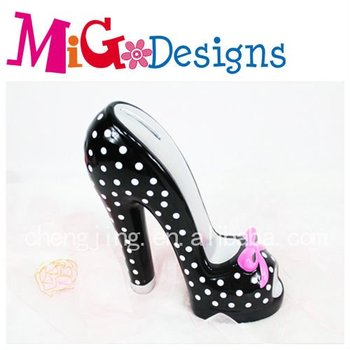 wholesale decor craft High-heel Shoe Ceramic coin bank