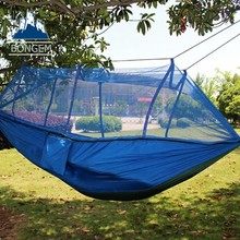 Mosquito net camping hammock with tree straps and cababiners