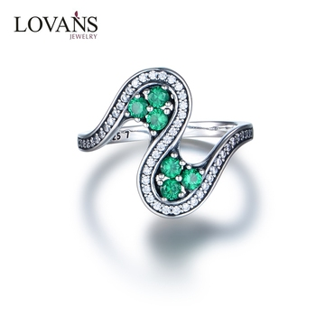 Fashion 925 Sterling Silver Genuine Emerald Ring Wholesale
