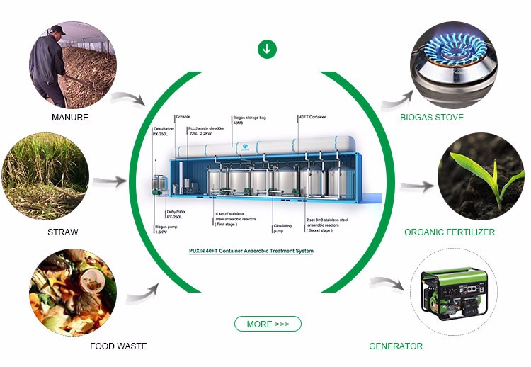 Compact Food Waste Biogas Plant For Food Factory To Treat Food Wastes