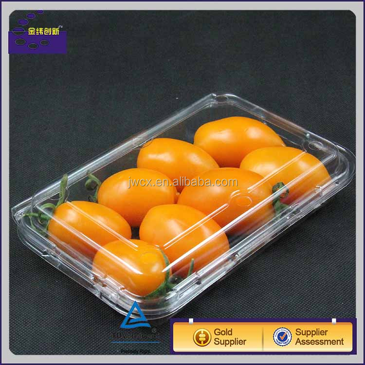 250g large size strawberry /cherry tomato clear packaging box with lid and logo printing