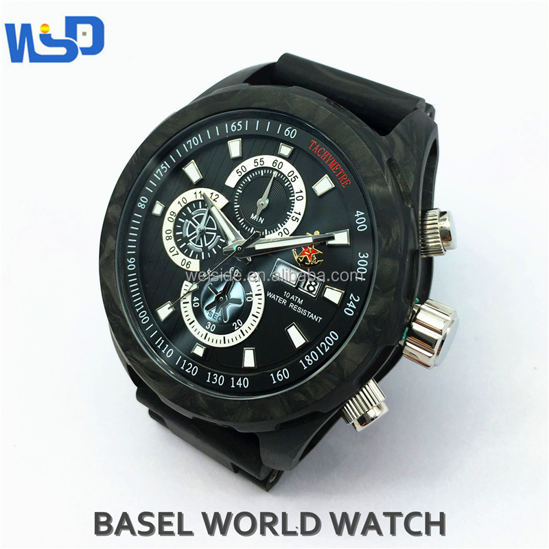 China Suppliers 2017 WSD-603 oem luxury cabon fiber sports watch with forged carbon fiber strap
