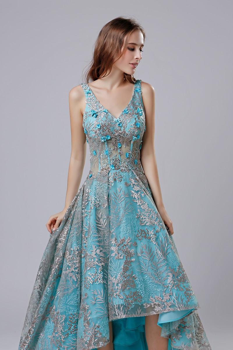 2018 Short Fashion Lace Appliques Evening Dresses High Low V Neck