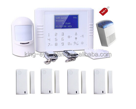Spanish language supported, gsm quad band touch screen home alarm kit with more wireless door magnetic switch
