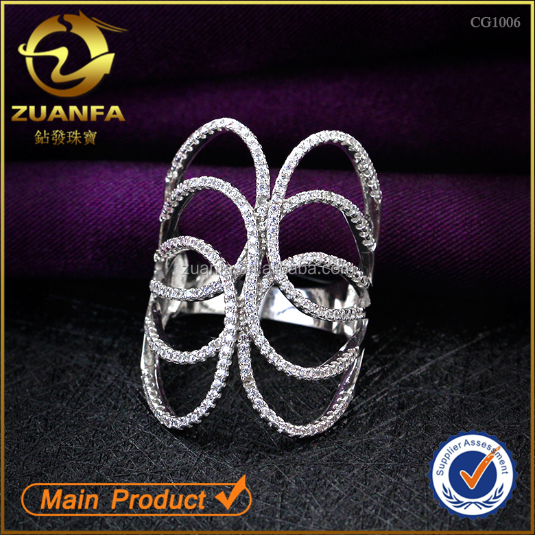 top quality 925 sterling silver fine jewelry with cubic zirconia diamond paved women ring jewelry