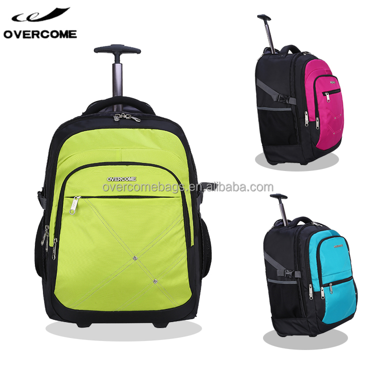Single bar upright trolley back pack rolling wheeled laptop computer backpack