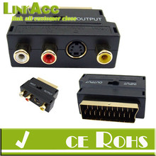 Linkacc-106Mt RGB SCART Plug Male to 3 RCA Female A/V Adaptor Converter for TV DVD VCRs