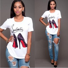 women clothing anti-shrink shirt shoes printing short - sleeved t shirt for women casual