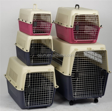 Plastic dog travel kennel for airline transport